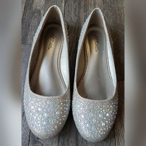 Hot Cakes Silver Rhinestone Ballet Flats Formal